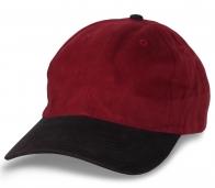 Классная рекламная бейсболка черно-бордовая