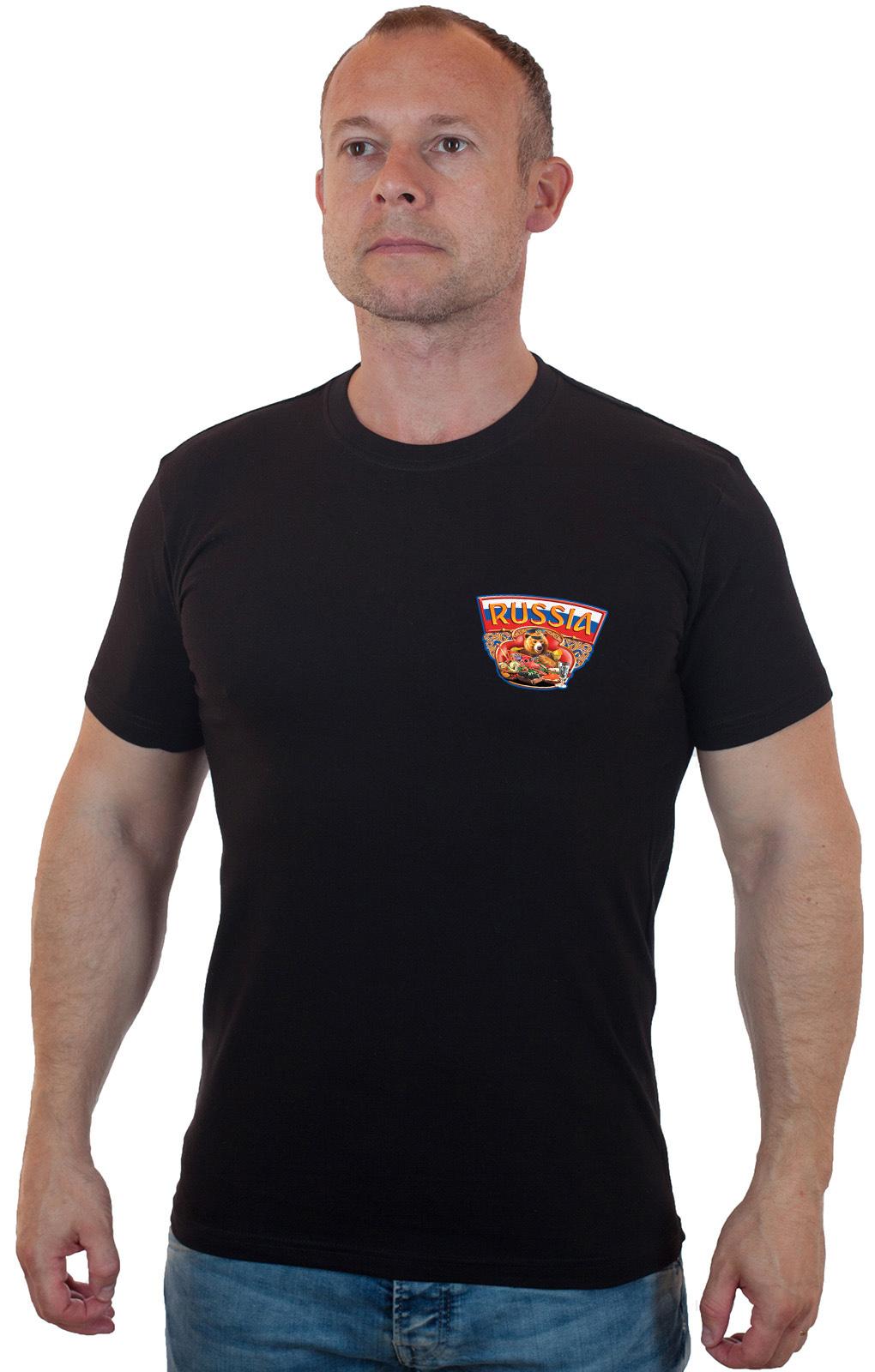 Классная черная футболка с оригинальным принтом - купить оптом