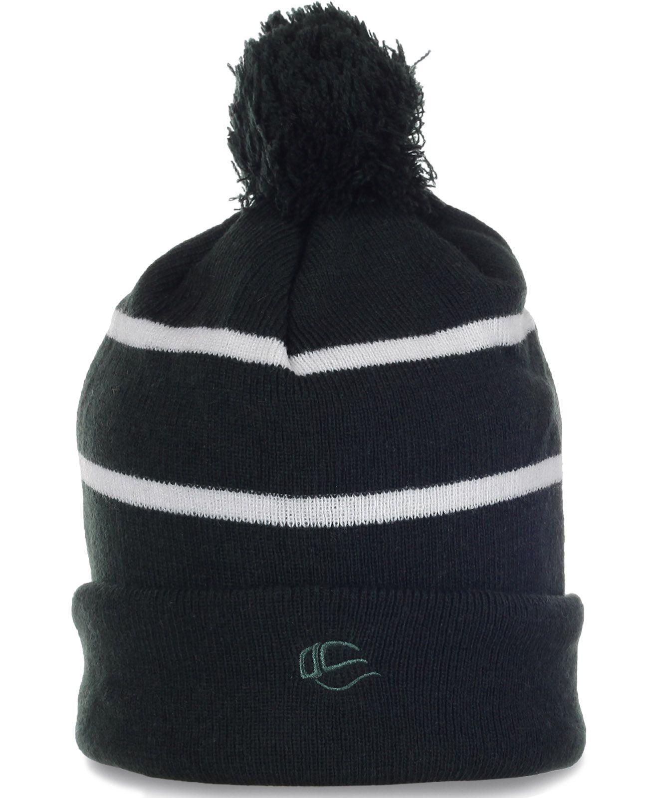 Классная флисовая спортивная шапка с помпоном