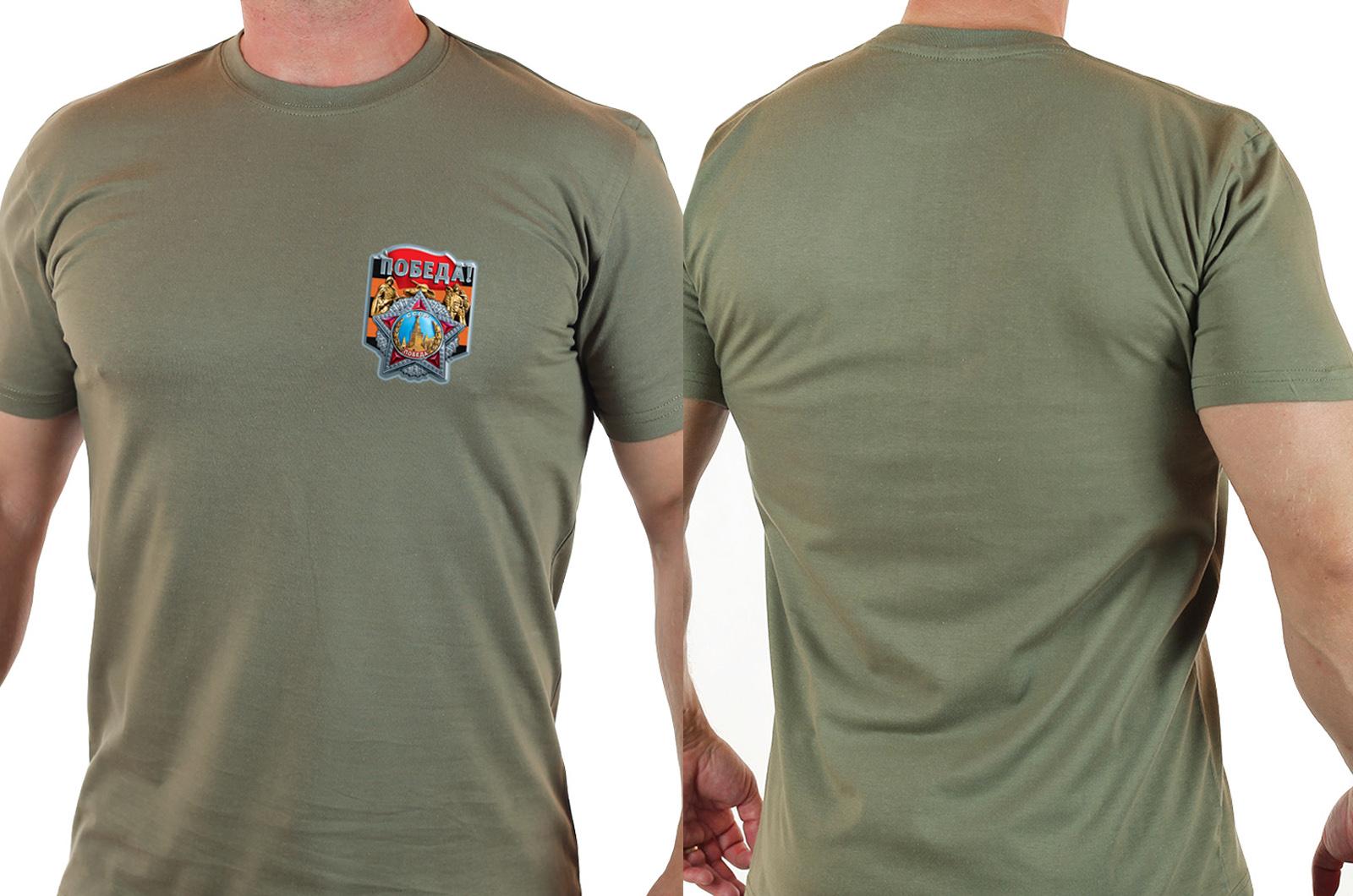 """Классная футболка для мужчин с термотрансфером """"Победа"""""""