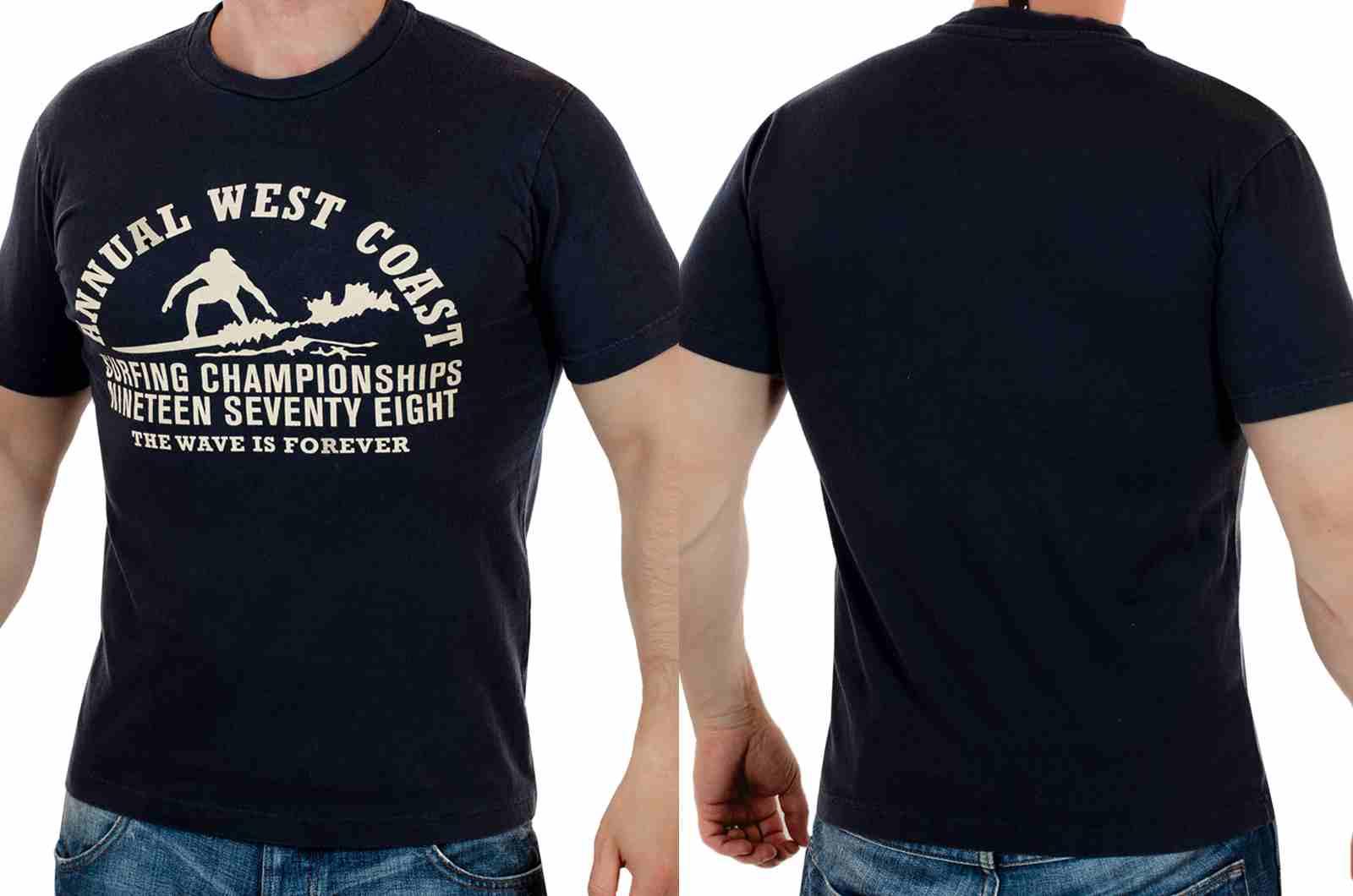 Классная футболка для сёрферов The wave is forever с принтом-двойной ракурс