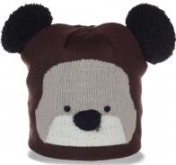 Классная женская шапка Мишка с ушками бубонами отменная молодежная модель