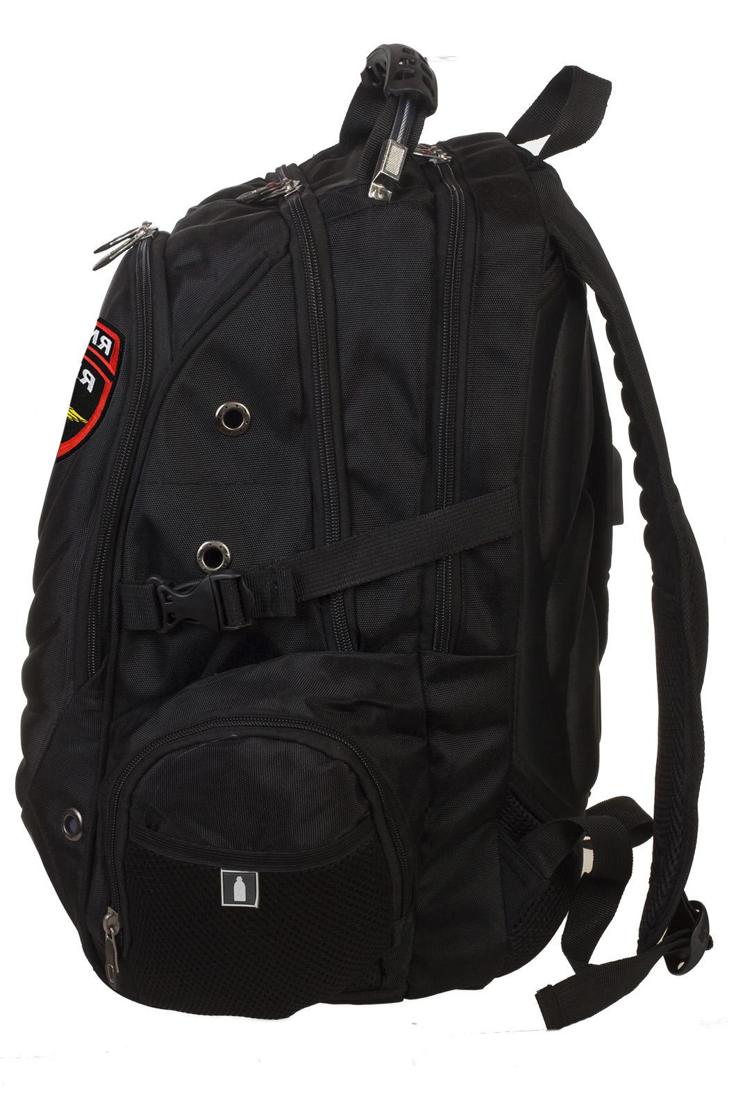Классный черный рюкзак с нашивкой Полиция России купить оптом
