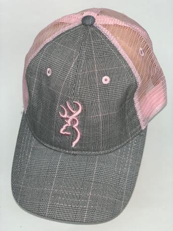 Клетчатая бейсболка Browning с розовой сеткой