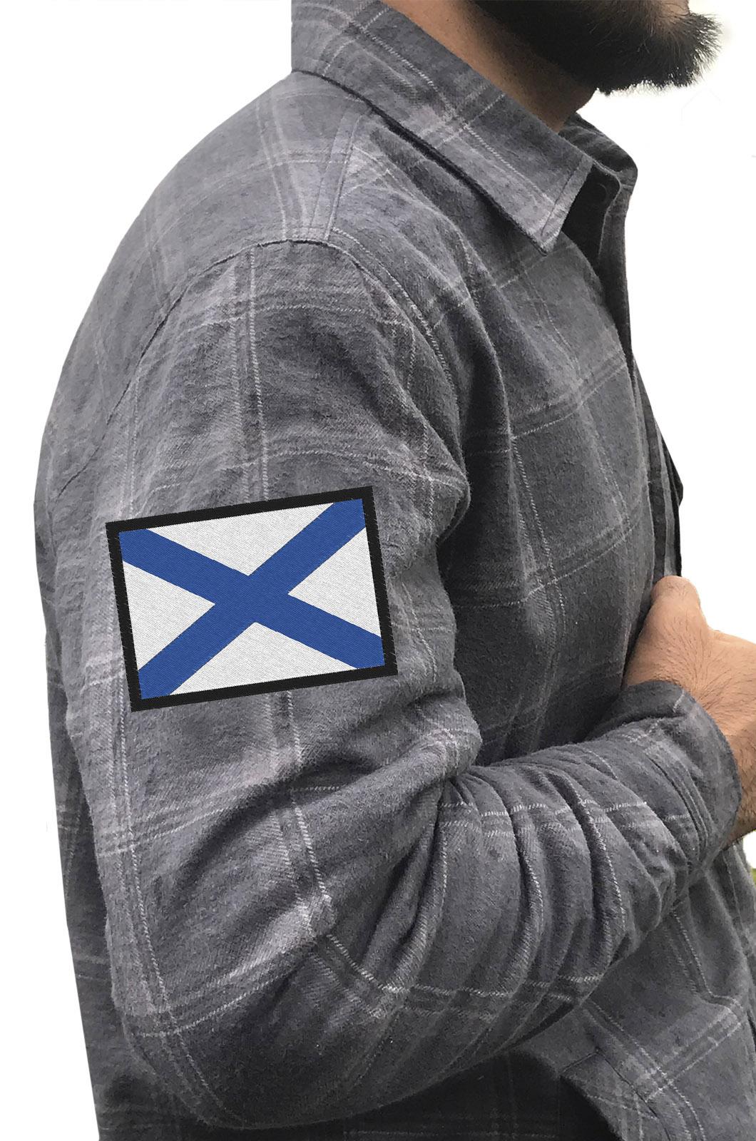 Клетчатая рубашка с Андреевским флагом купить в розницу