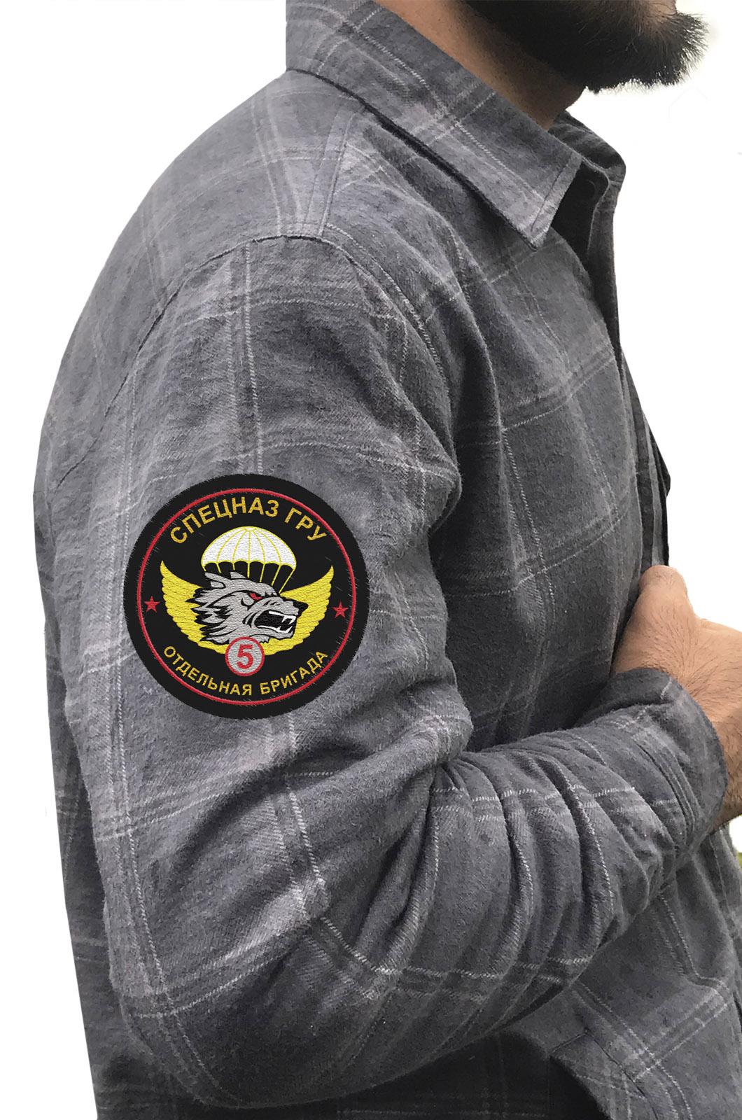 Клетчатая рубашка с эмблемой 5 ОБрСпН ГРУ купить с доставкой