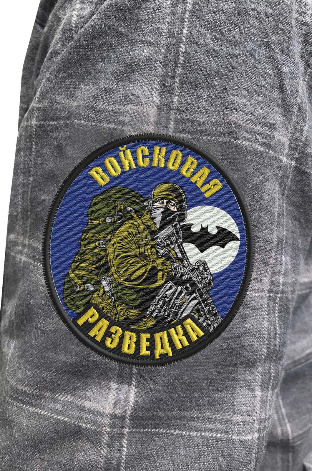 Клетчатая рубашка с шевроном Войсковой разведки купить в подарок