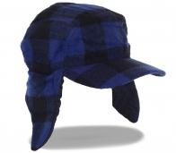 Клетчатая стильная мужская шапка с козырьком и ушами. Отменный аксессуар в гардероб современного мужчины