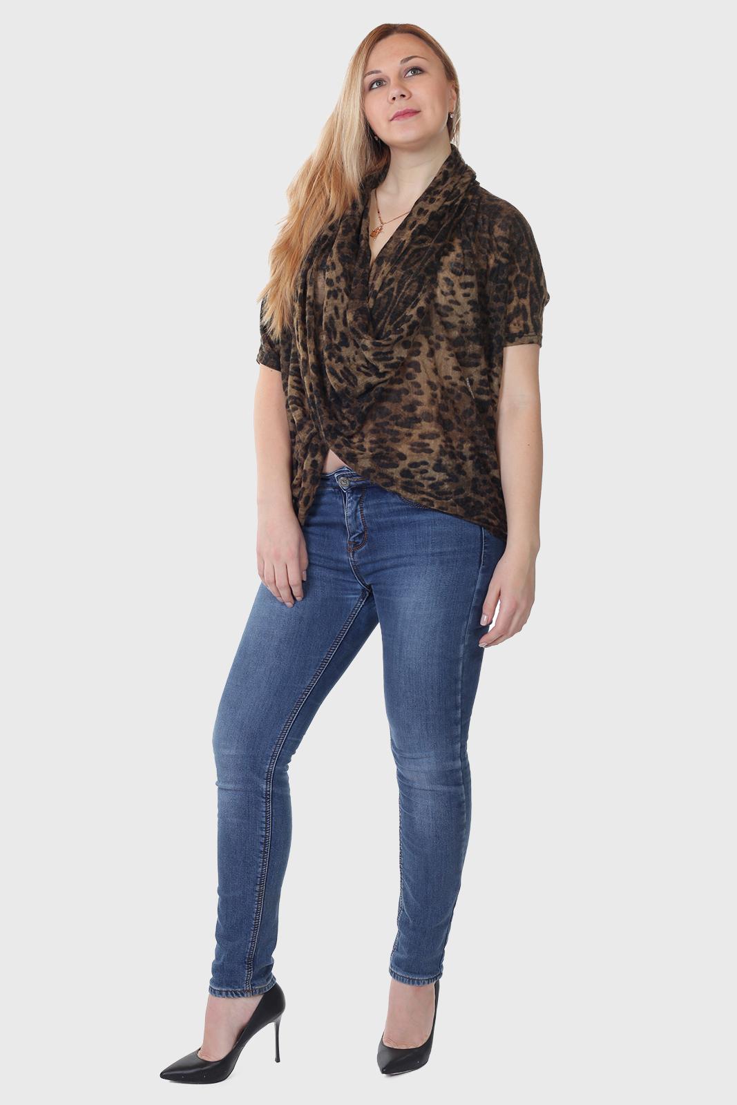 Купить в интернет магазине леопардовую трикотажную кофту Angie