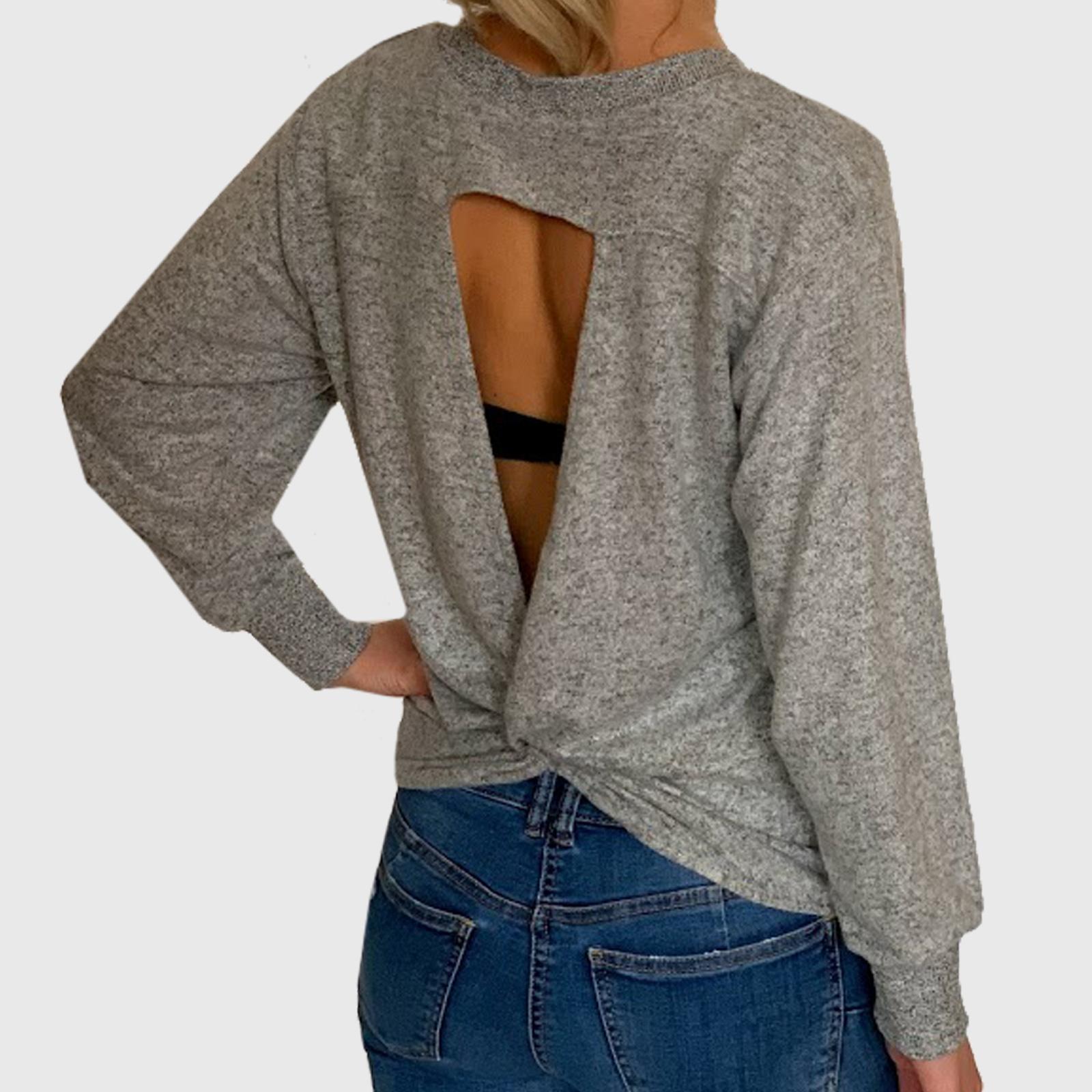 Купить женскую кофту-блузу с открытой спиной