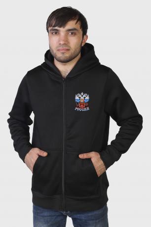 Очень популярная мужская кофта толстовка с гербом РФ.