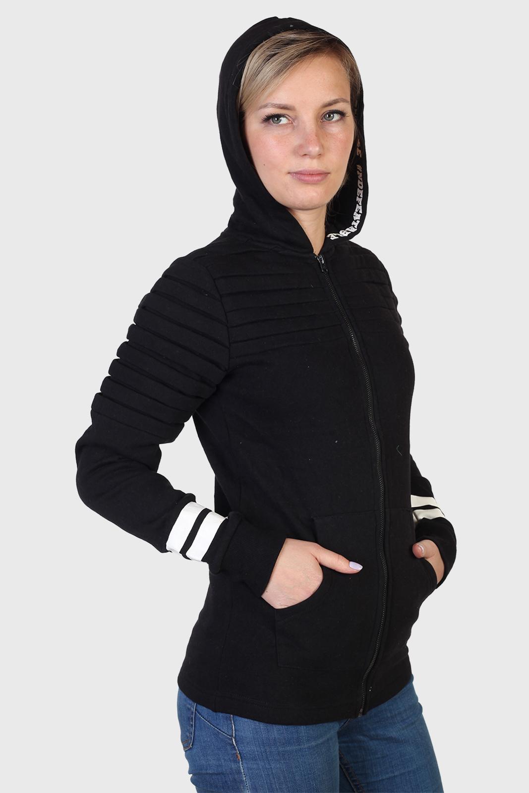 Черная женская кофта CoolCat с капюшоном