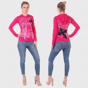 Розовая кофта Rock and Roll Cowgirl с капюшоном и длинным рукавом