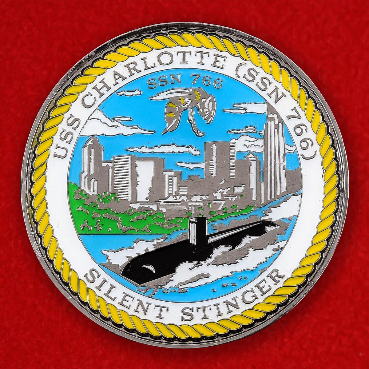 """Челлендж коин """"Многоцелевая атомная подводная лодка ВМС США Шарлотт"""""""