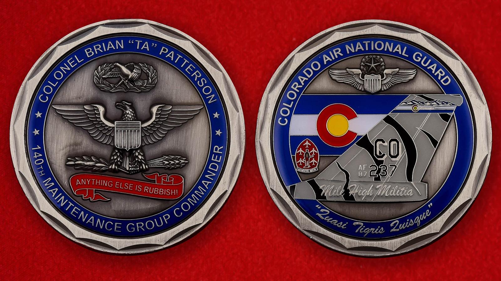 """Челлендж коин """"От командира 140-й группы МТО ВВС США полковника Брайана Паттерсона"""""""