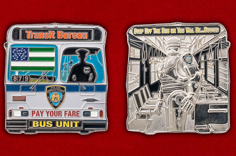 Челлендж коин Транспортной полиции Нью-Йорка - аверс и реверс