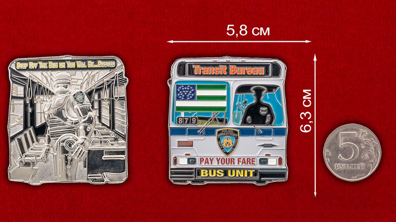 Челлендж коин Транспортной полиции Нью-Йорка - сравнительный размер