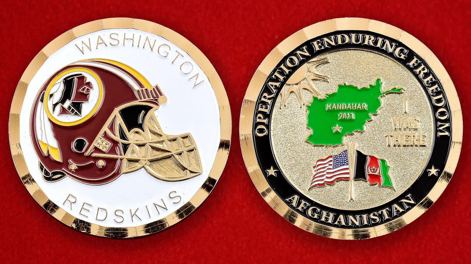 """Челлендж коин """"Washington Redskins в поддержку Операции Несокрушимая Свобода"""""""
