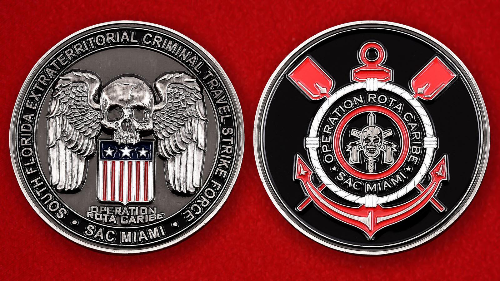 """Челлендж коин """"За операцию Карибы"""" тактической группы Министерства внутренней безопасности США"""