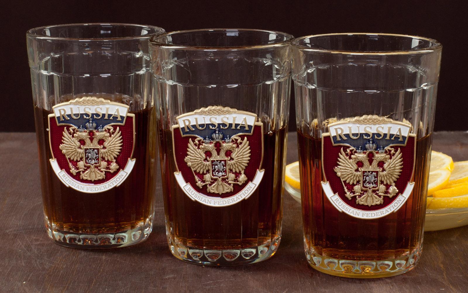 """Коллекционные гранёные стаканы """"Russia"""" с доставкой"""