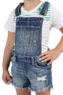 Детские джинсовые шорты-комбинезон с потертостями
