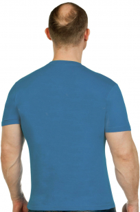 Комфортная бирюзовая футболка с вышитой эмблемой ВДВ 104 ПДП - заказать в розницу