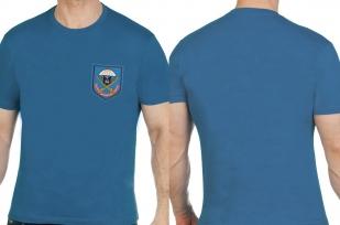 Комфортная бирюзовая футболка с вышитой эмблемой ВДВ 104 ПДП - заказать выгодно