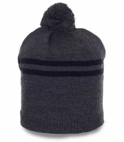 Комфортная непритязательная мужская шапка с бубоном элегантный аксессуар для спорта