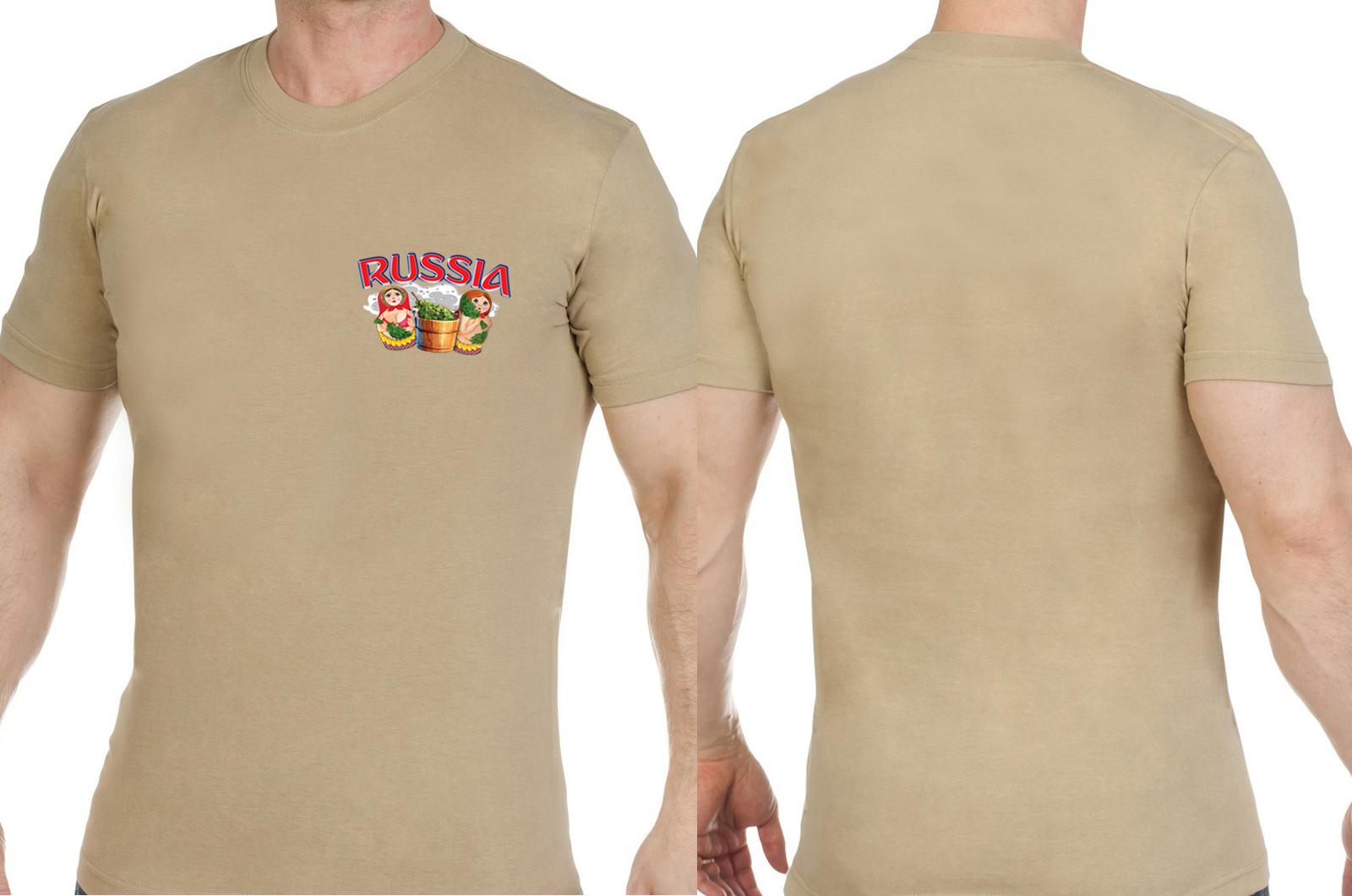 Комфортная песочная футболка Россия - заказать онлайн
