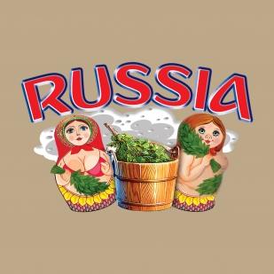 Комфортная песочная футболка Россия