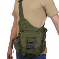 Компактная многоцелевая сумка через плечо (хаки-олива)