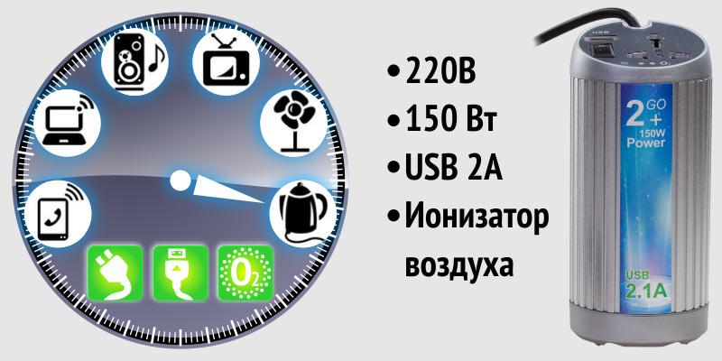Компактный автомобильный инвертор/освежитель воздуха Bridna 12/220 150W