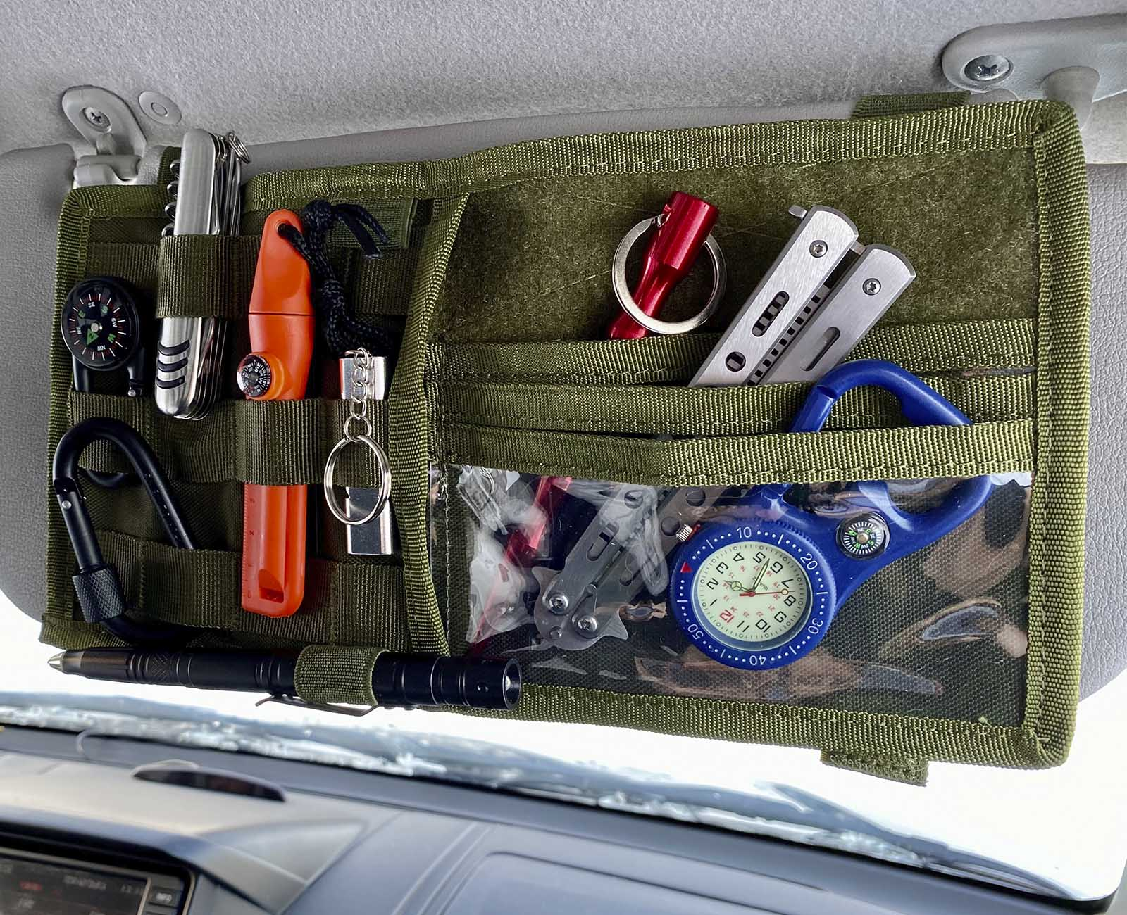 Компактный тактический органайзер на солнцезащитный козырек машины (хаки-олива)