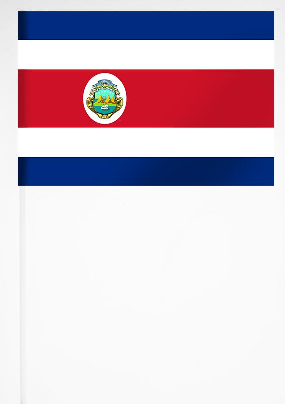 Флажок  на палочке Коста-Рики 15x23 см