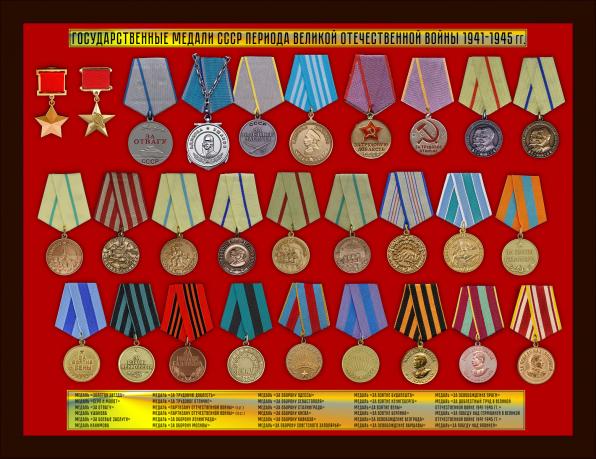 Комплект копий государственных медалей СССР периода ВОВ 1941-1945 гг. (28 шт.)