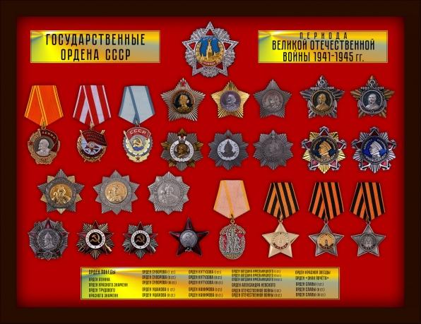 Комплект копий государственных орденов СССР периода ВОВ (25 шт.)
