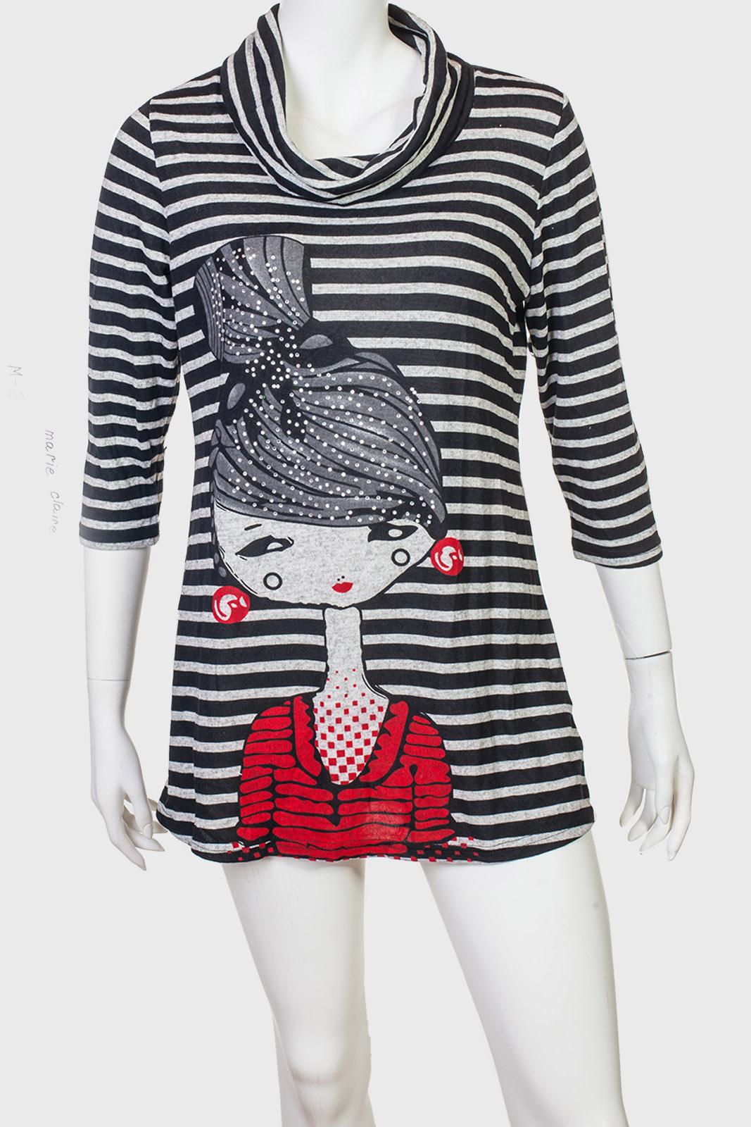 Контрастное платье-туника с милым принтом от Marie Claire