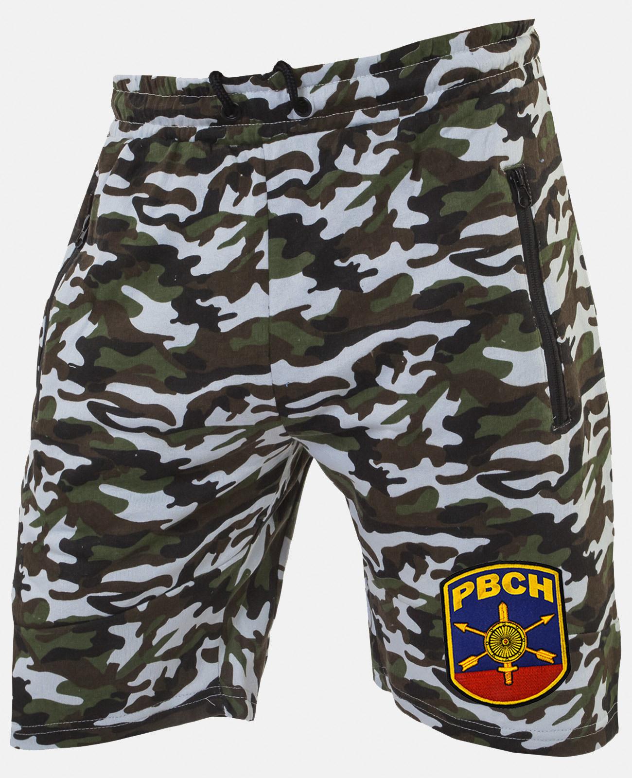 Контрастные камуфляжные шорты с нашивкой РВСН