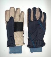 Контрастные зимние перчатки с манжетами
