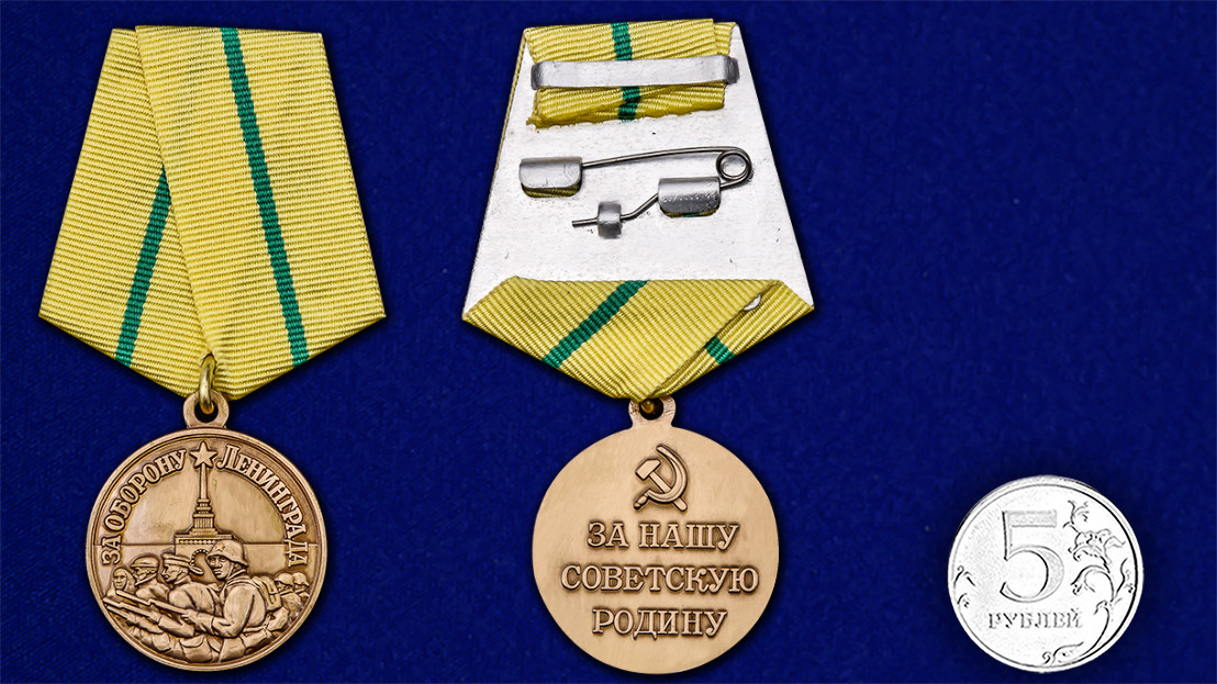 Медаль «За нашу Советскую Родину! За оборону Ленинграда» - сравнительный размер