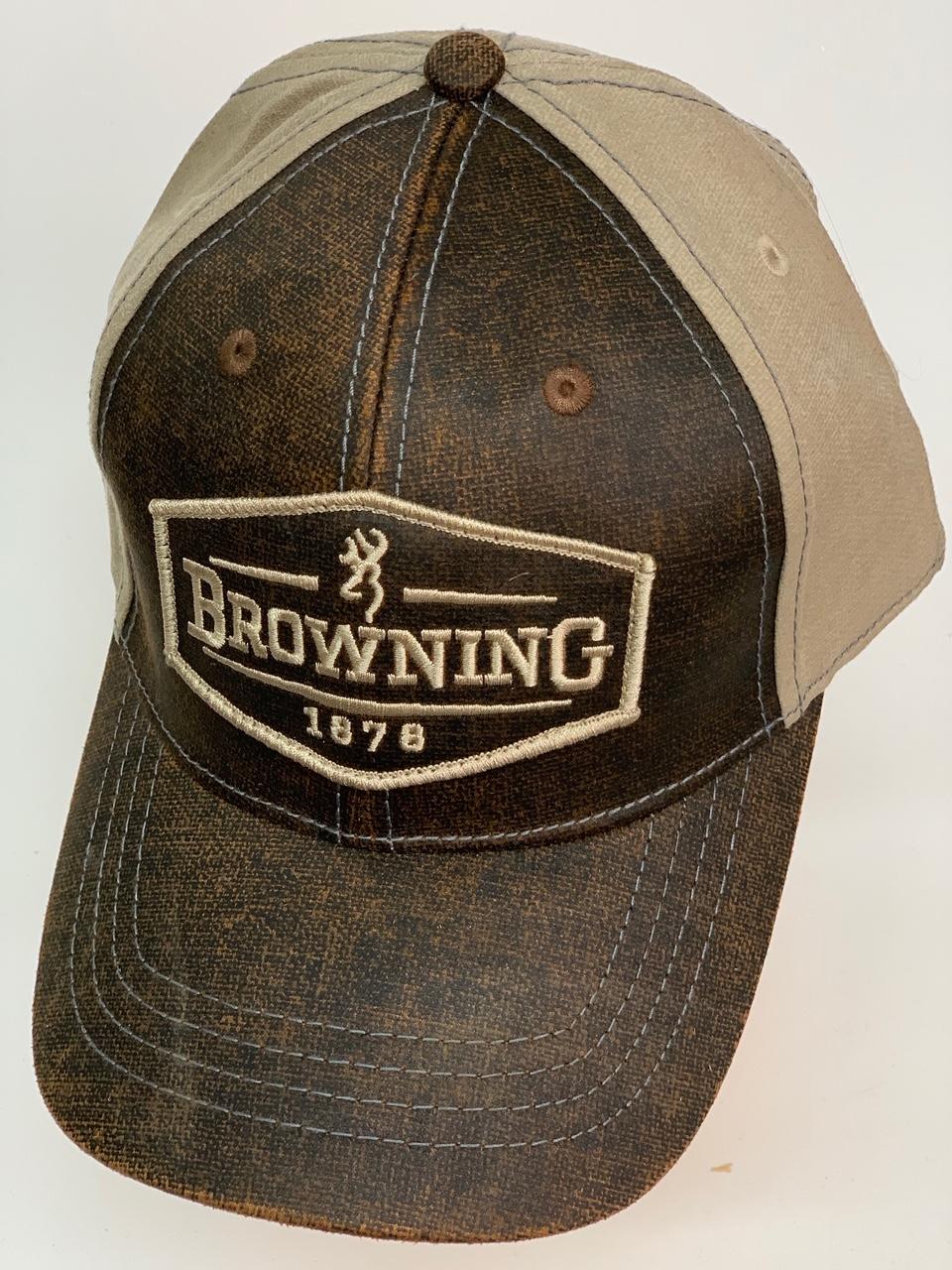 Коричневая бейсболка Browning с бежевым тылом и вышивкой