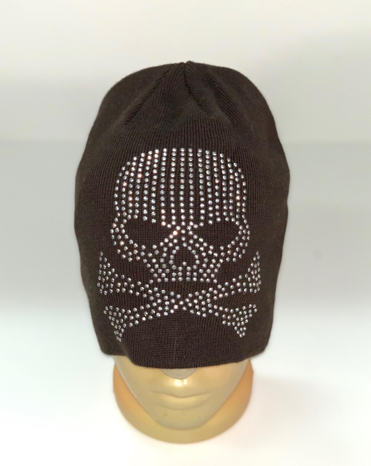 Коричневая шапка с черепом
