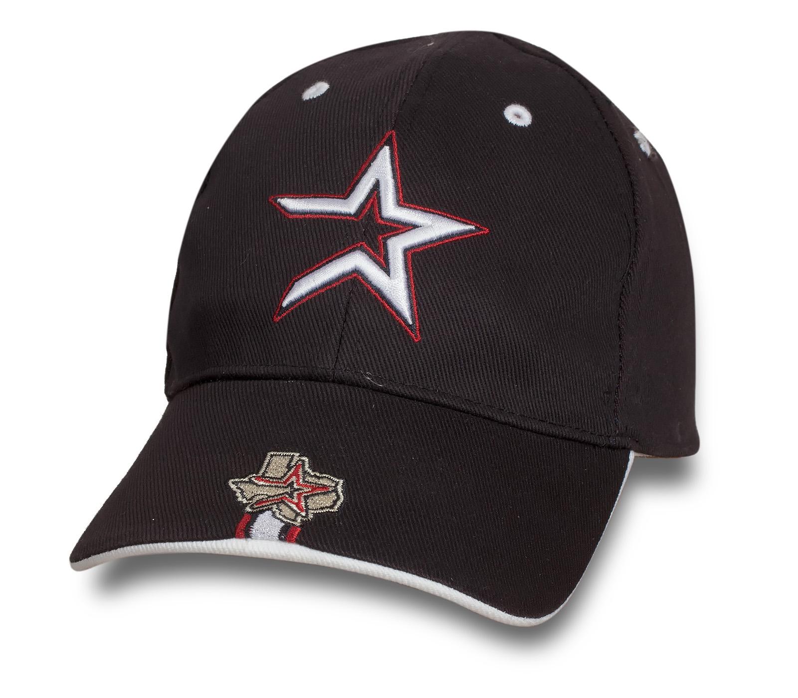 Коричневая строгая бейсболка со звездой