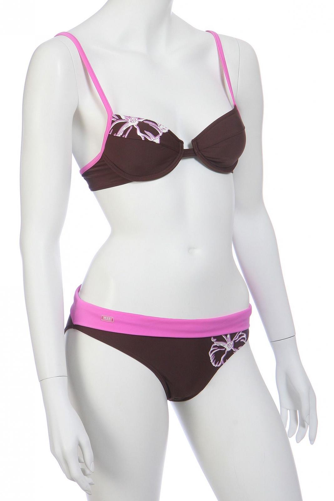 Коричневый с розовым купальник