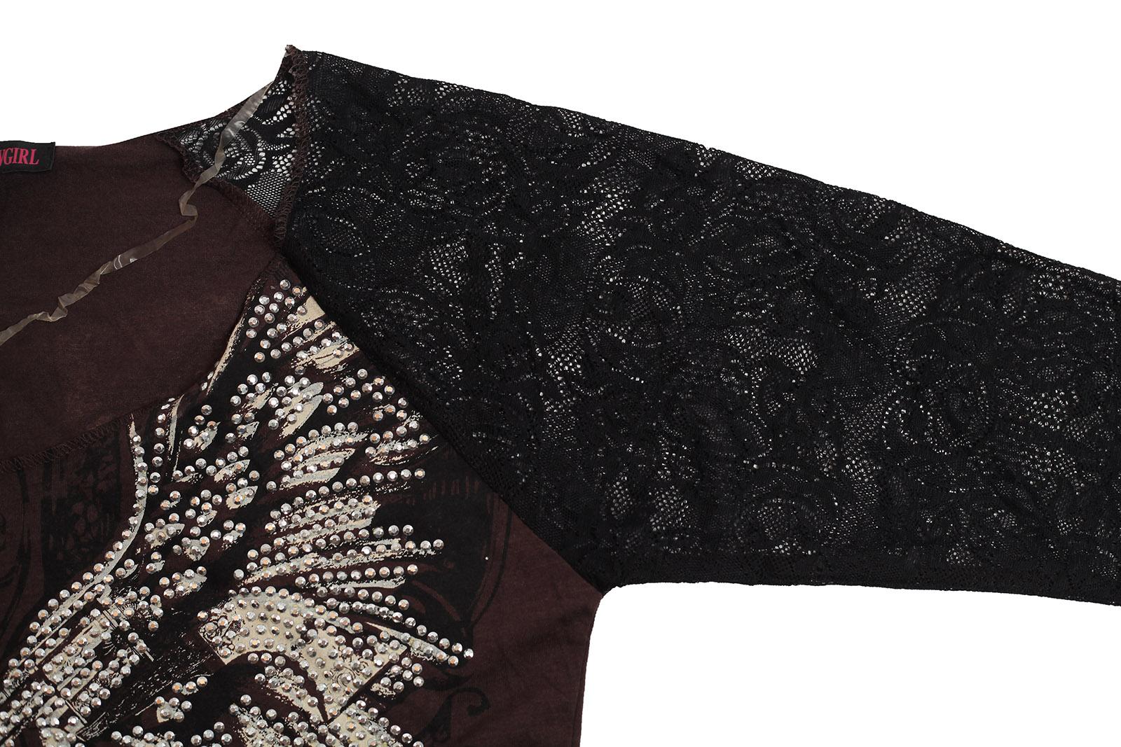 Ковбойская кофточка с принтом и гипюрными рукавами – «Два ствола» от Rock&Roll CowGirl