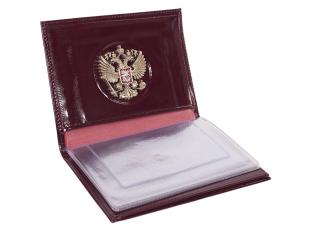 Купить кожаное портмоне для документов с гербом РФ
