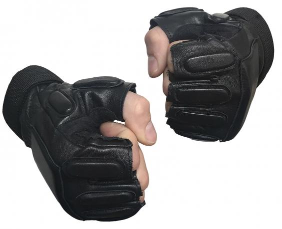 Кожаные тактические байкерские перчатки
