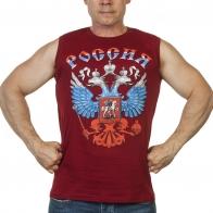 Краповая майка с гербом России