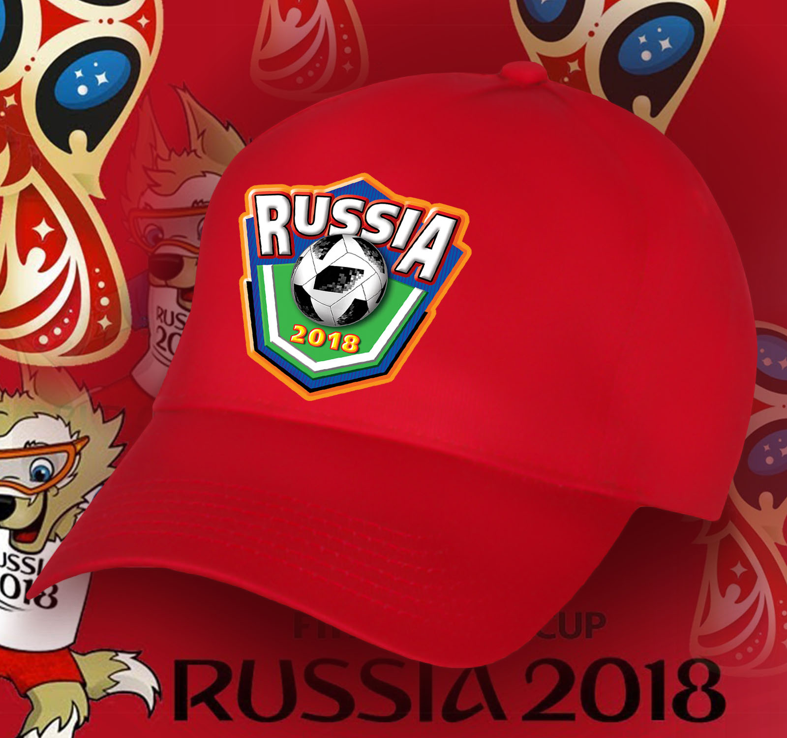 Красная бейсболка Россия.