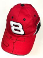 Красная бейсболка с белой цифрой на тулье и вышивкой